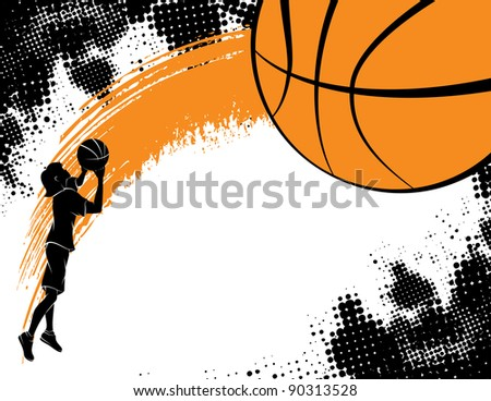 Basketball Background With Girl Shooting - stock vector