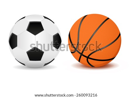 Basketball ball and soccer ball. Vector Illustration isolated on white background.
