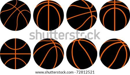 Basketball ball-8 different views - stock vector