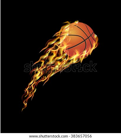 Basketball ball flying in the fire with the speed - stock vector