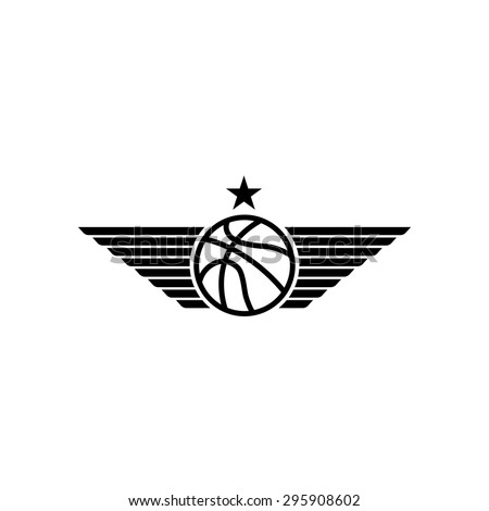 Basketball ball icon with wings and star, mockup black and white sport tournament emblem, team logo - stock vector