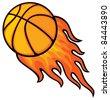 basketball ball in fire - stock vector