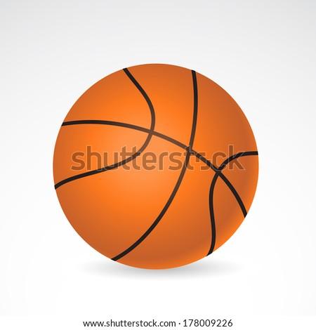 Basketball ball isolated on white background. VECTOR illustration. - stock vector