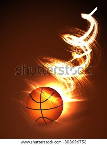 Basketball ball on fire - stock vector