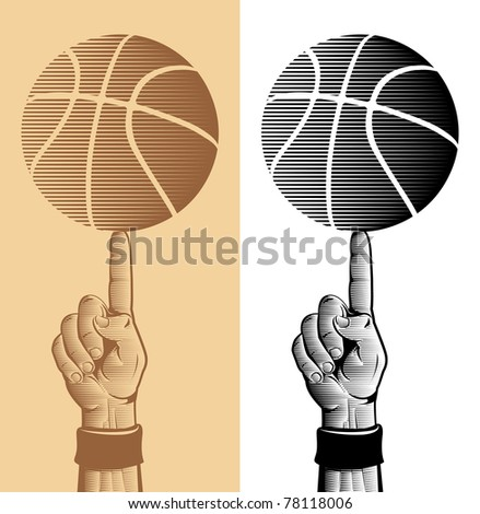 Basketball Ball On The Finger Vector Drawing 2 - stock vector