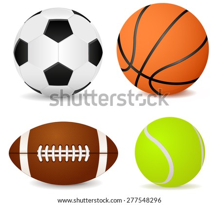 Basketball ball, soccer ball, tennis ball and american football Vector Illustration isolated on white background. - stock vector