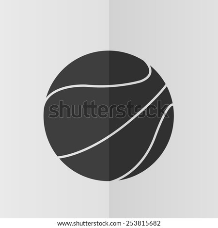 Basketball ball vector icon. Effect of folded paper. Flat design - stock vector