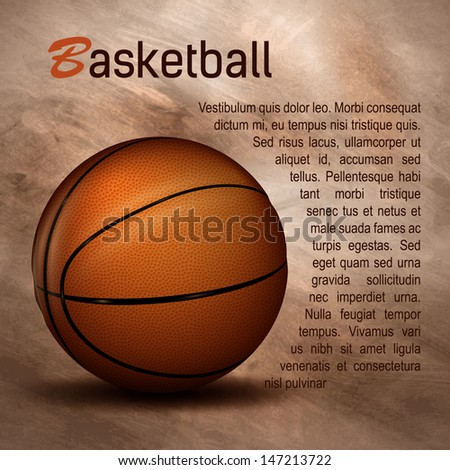 Basketball ball with textured background - stock vector