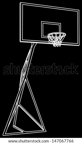 Basketball basket construction vector isolated on black background , play ground