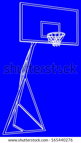 Basketball basket white line construction vector isolated on blue background , play ground. - stock vector