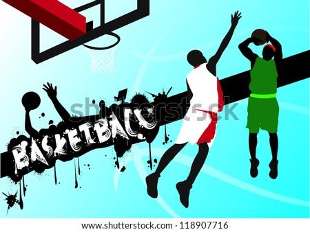 Basketball battle Graffiti - stock vector
