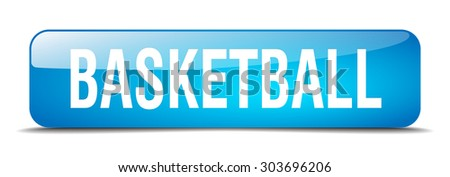 basketball blue square 3d realistic isolated web button