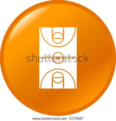 basketball button - stock vector