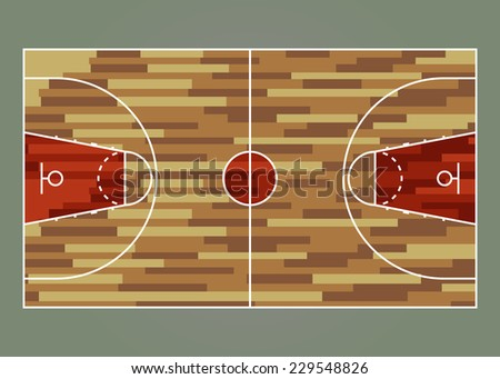 Basketball court / field - top view. Proper markings and proportions according standards. Vector illustration, eps 10. - stock vector