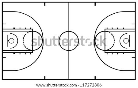 Basketball Court isolated - stock vector