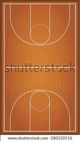 Basketball court, parquet - stock vector
