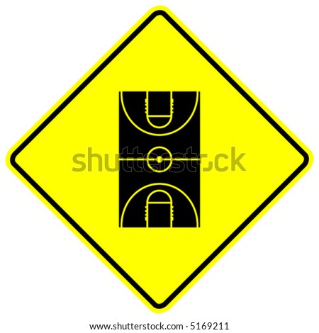 basketball court sign - stock vector
