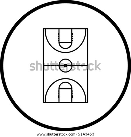 basketball court symbol - stock vector