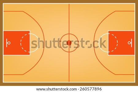basketball court vector or basketball field vector - stock vector