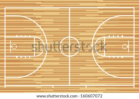 Basketball court with parquet wood board. Vector - stock vector