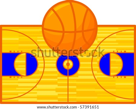 basketball design court and ball - stock vector