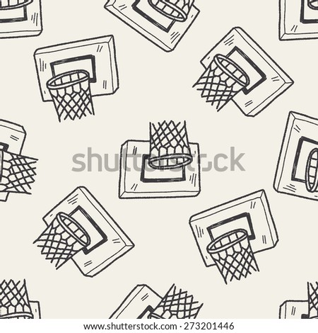 basketball doodle seamless pattern background