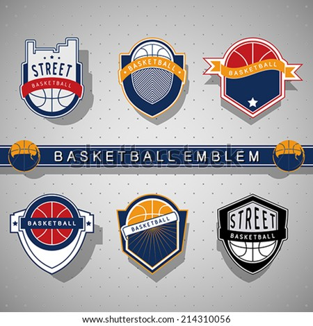 Basketball emblem - stock vector