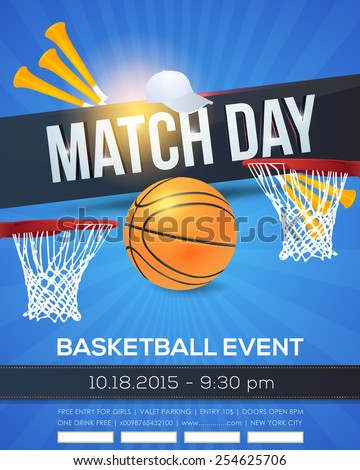 Basketball Event Poster Template Vector Background - stock vector