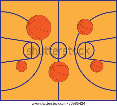 Basketball field. Basketball balls on the field. Basketball court. - stock vector