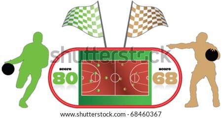basketball Field, basketball players, sports - stock vector