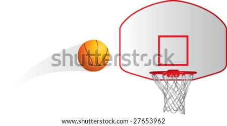 basketball flies into net - stock vector