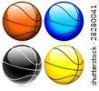 basketball glassy set vector - stock photo