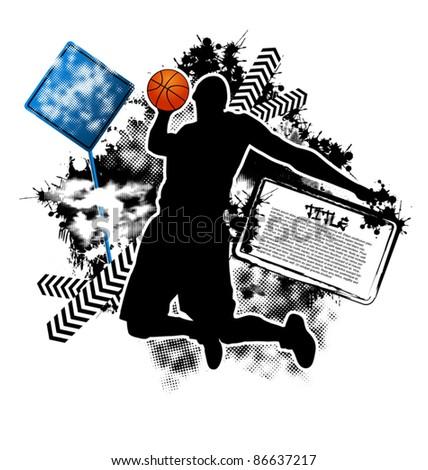 Basketball grunge template vector - stock vector