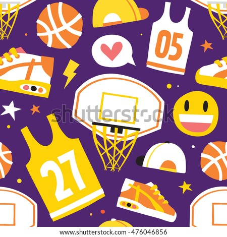 Basketball hand drawn cartoon objects seamless vector pattern purple