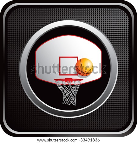 basketball hoop and backboard on black web button