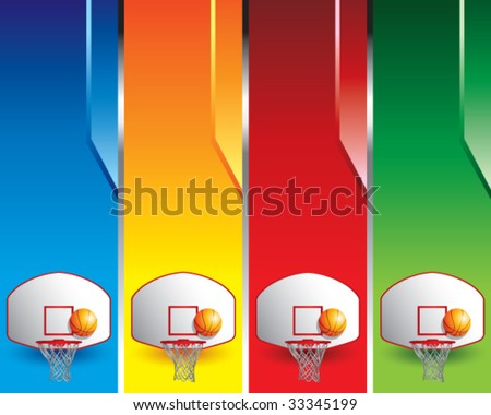 basketball hoop and backboard on colored banners - stock vector