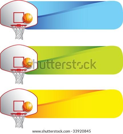 basketball hoop and backboard on colored tabs - stock vector
