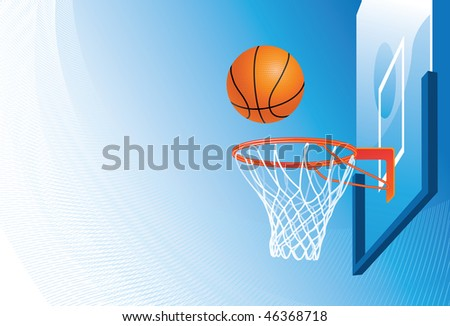 Basketball hoop and ball on sky background - stock vector
