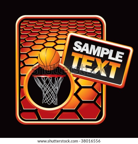 basketball hoop and ball orange hexagon advertisements