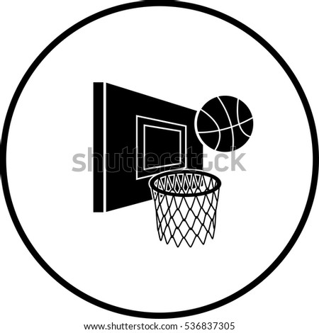 Basketball Hoop Ball Symbol Stock Vector Royalty Free 536837305