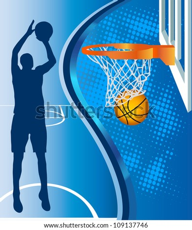 Basketball hoop and basketball silhouette  on blue background - stock vector