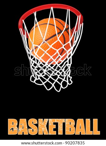 Basketball hoop on black background, vector illustration - stock vector