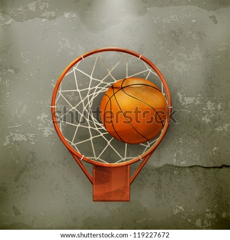 Basketball icon, old-style vector - stock vector