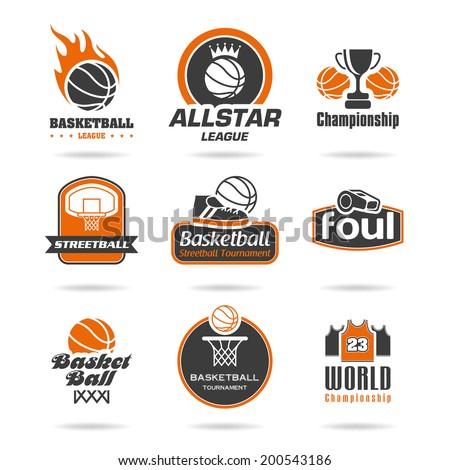 Basketball icon set - 2 - stock vector