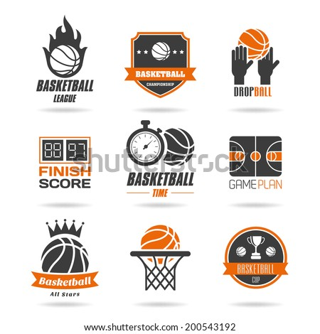 Basketball icon set - 3 - stock vector