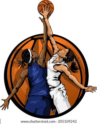 Basketball jump ball featuring two girls in a basketball background.  - stock vector