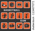 basketball nice icon and pictogram complete collection set - stock vector
