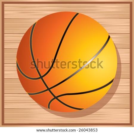 basketball on floor - stock vector