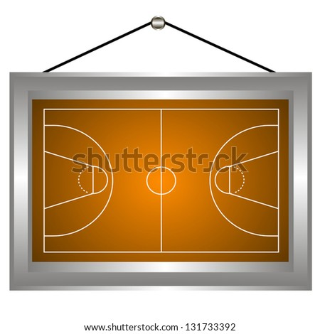 Basketball platform in a frame on a white background. Vector illustration