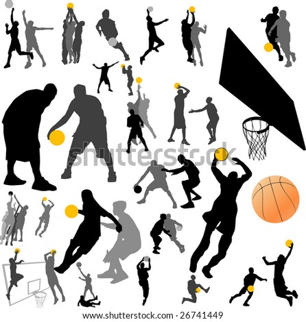 basketball player and ball vector - stock vector